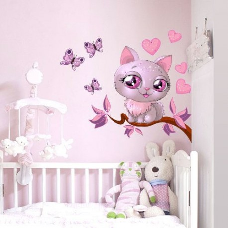 Deco chambre bebe fille stickers for Sticker mural chambre fille