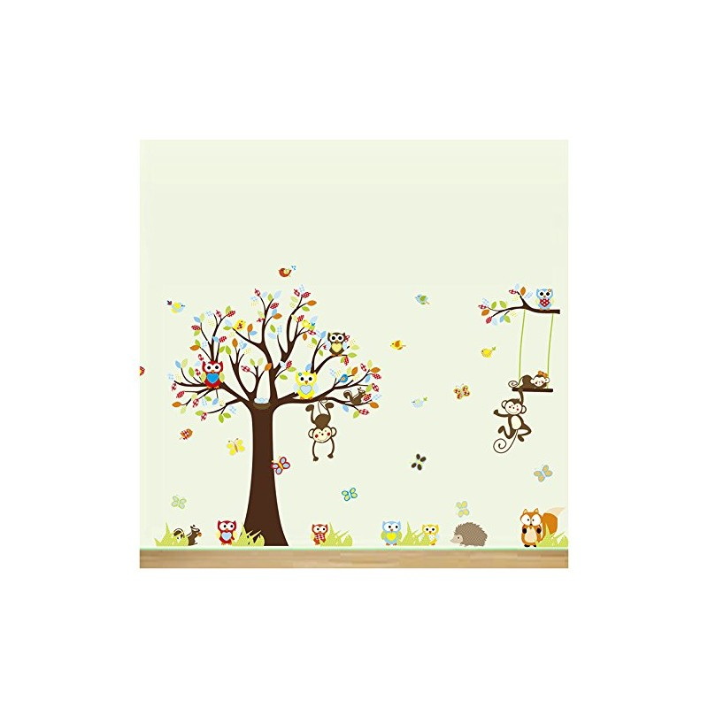 Stickers arbre et des animaux de la for t qui bercent vos for Stickers et decoration