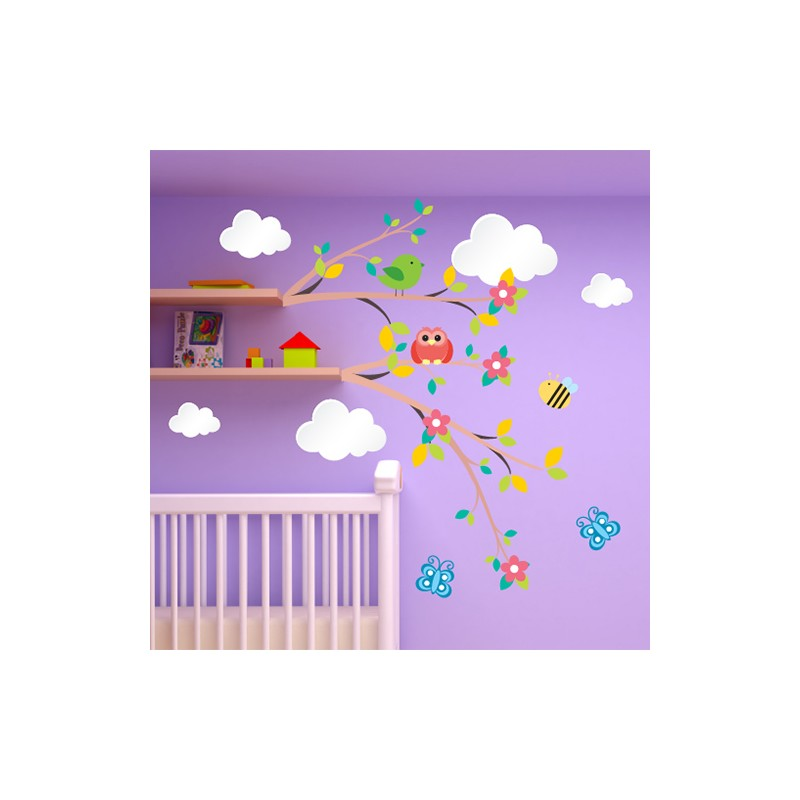 stickers chambre b b fleurs et nuages pour des r ves veill s. Black Bedroom Furniture Sets. Home Design Ideas