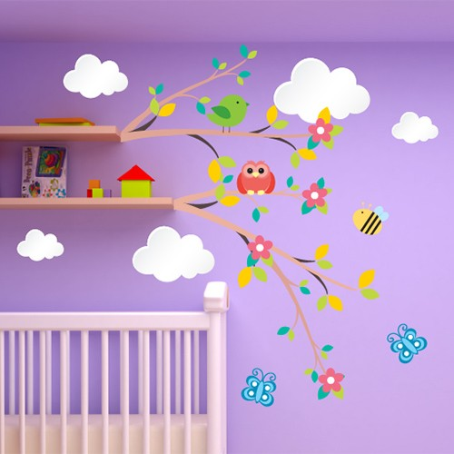 Awesome stickers chambre bebe nuage photos awesome interior home satellite - Stickers chambre bebe nuage ...