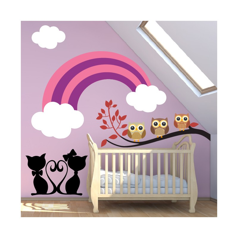 stickers chambre b b arc en ciel avec l 39 amour tous les jours. Black Bedroom Furniture Sets. Home Design Ideas