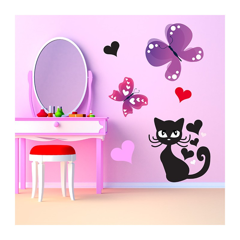 Stickers chambre b b chat et papillons en exclusivit for Stickers chambre petite fille