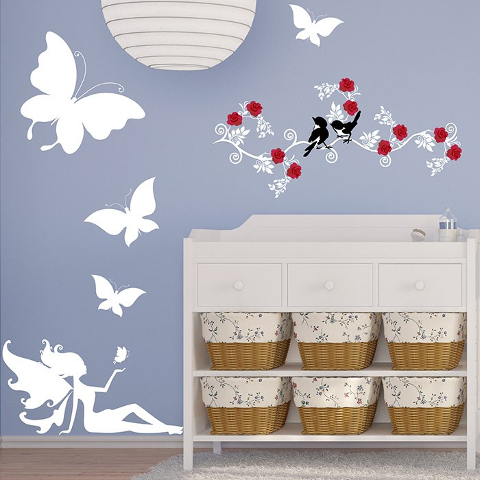 stickers chambre b b f e et papillons une d coration unique. Black Bedroom Furniture Sets. Home Design Ideas