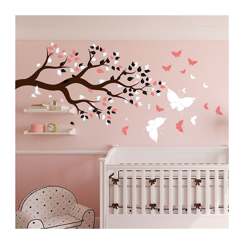 stickers chambre b b arbre et papillons pour du bonheur. Black Bedroom Furniture Sets. Home Design Ideas