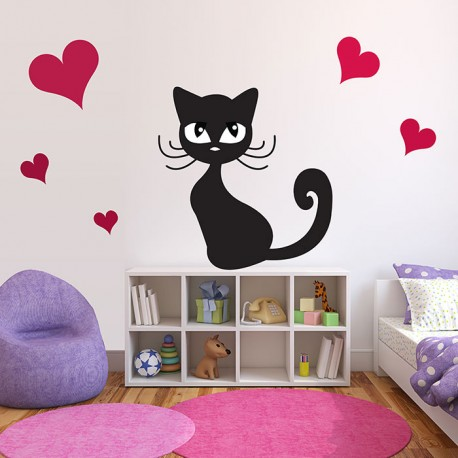 Stickers chambre b b chat noir myrtille et son don du bonheur for Stickers phrase chambre bebe