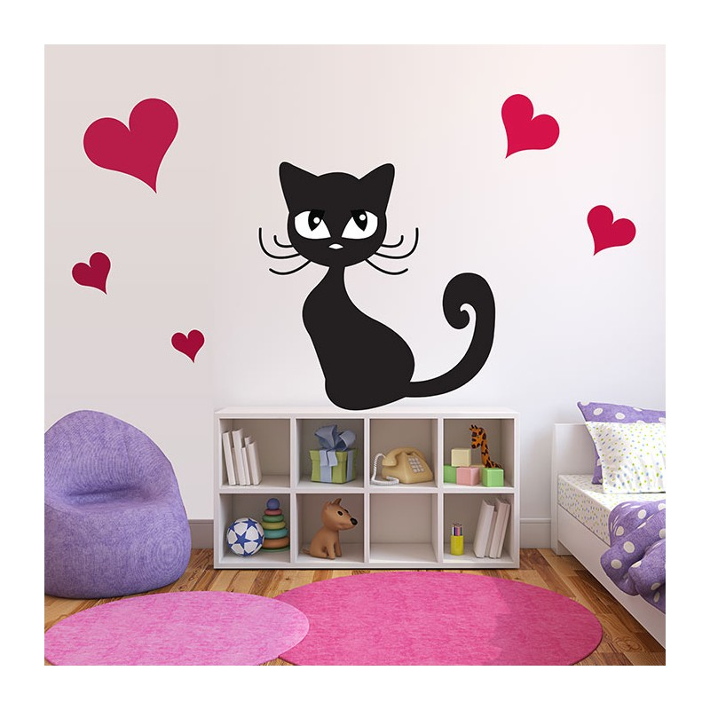 stickers chambre b b chat noir myrtille et son don du bonheur. Black Bedroom Furniture Sets. Home Design Ideas