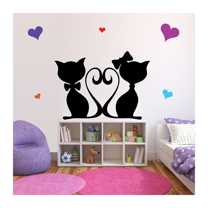 stickers chambre b b chats roses une d coration pour princesse. Black Bedroom Furniture Sets. Home Design Ideas