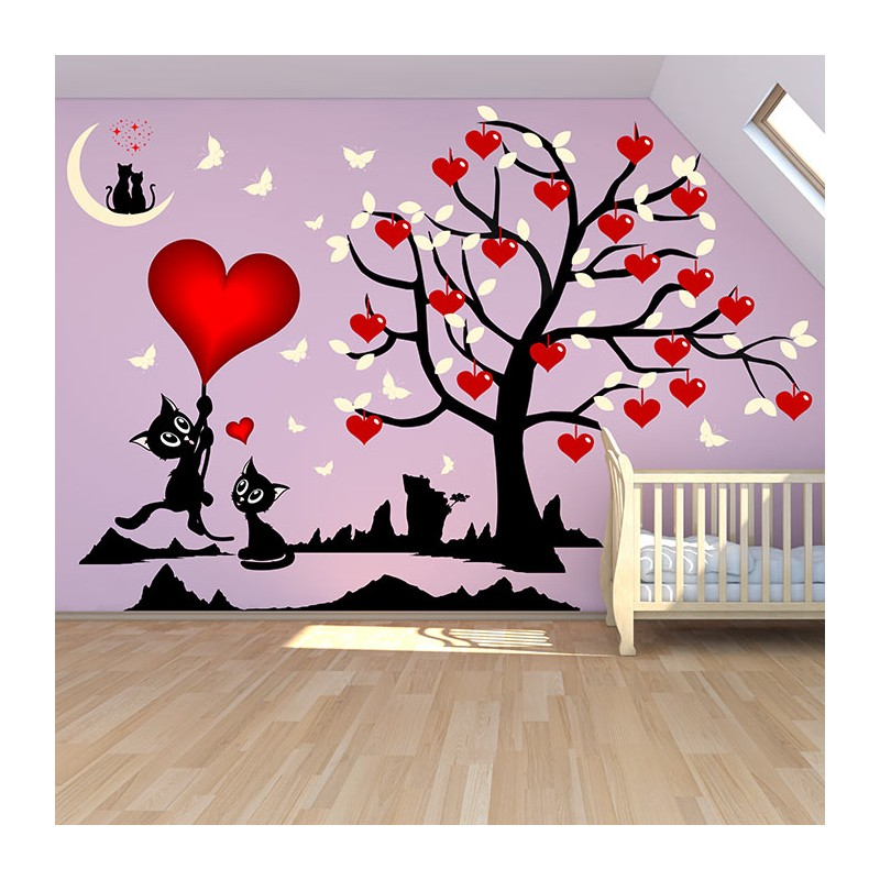 stickers chambre fille arbre et chats o les coeurs fleurissent. Black Bedroom Furniture Sets. Home Design Ideas