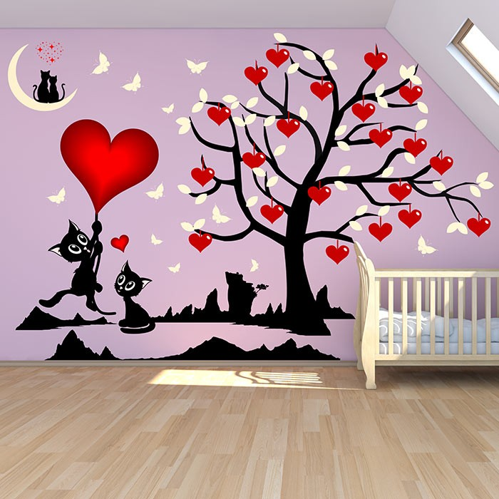 stickers chambre fille arbre et chats o les coeurs. Black Bedroom Furniture Sets. Home Design Ideas