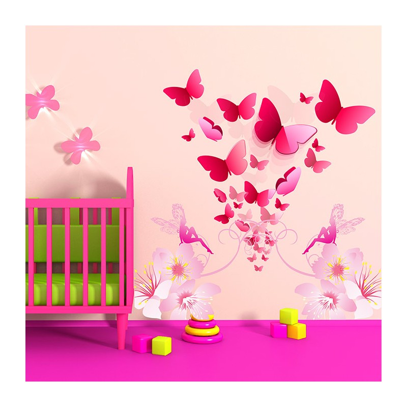 Stickers chambre b b floril ge de papillons enchanteurs for Sticker chambre bebe fille