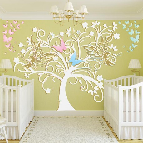 Stickers chambre b b arbre et f es un sticker mural for Stickers arbre chambre bebe