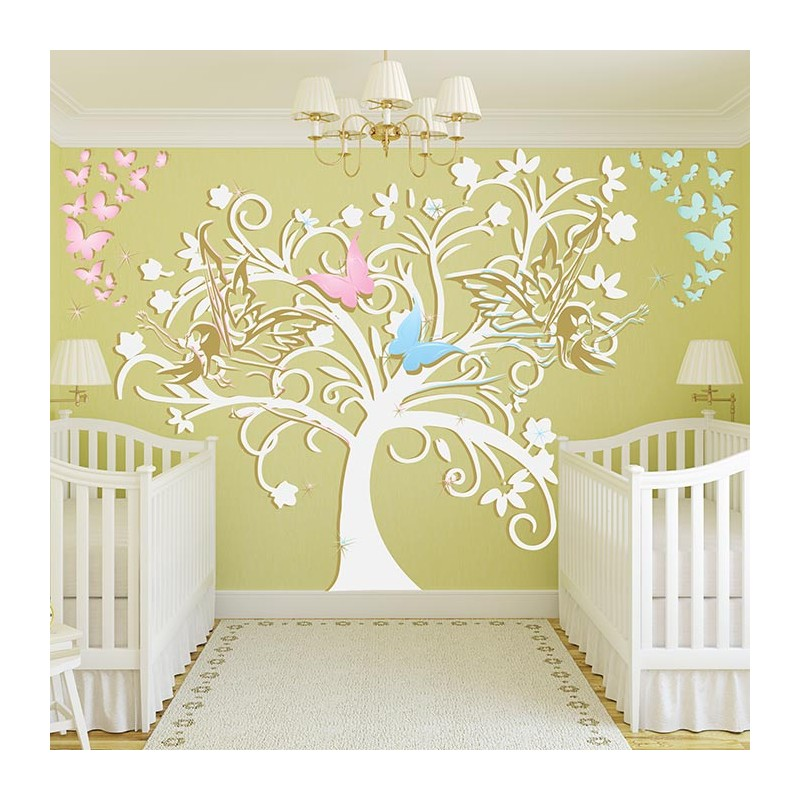 Awesome stickers chambre bb arbre et fes with sticker for Autocollant mural chambre bb